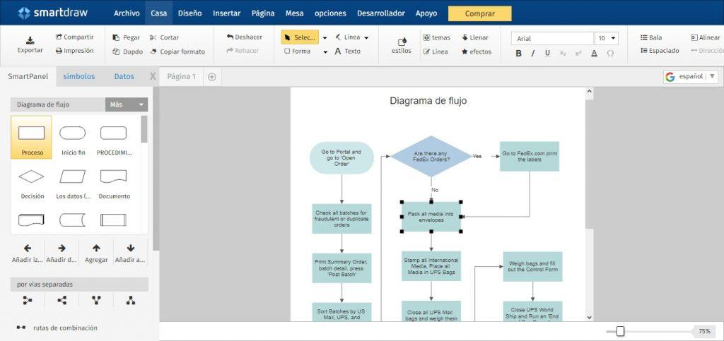 Diagrama de flujo online: smart draw